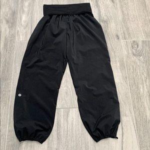 Lululemon black crop fold over waist pant -2